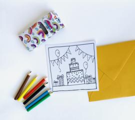 Inkleur kaart taart zonder potloden