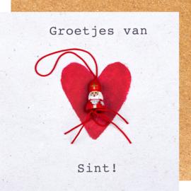 Wenskaart Sinterklaas groetjes van Sint