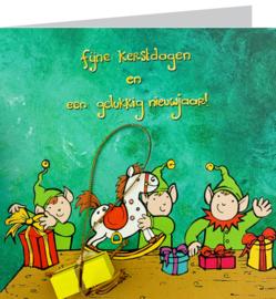 Wenskaart kerstelfjes
