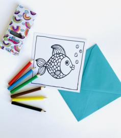 Inkleur kaart vis zonder potloden