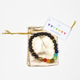 Chakra armband Lava steen