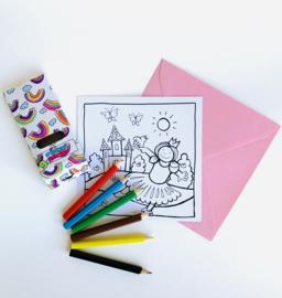 Inkleur kaart prinses zonder potloden