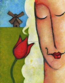 Meisje tulp molen-ansichtkaart