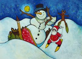 Ansichtkaart kerst snowman