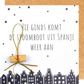 Wenskaart Sinterklaas zie ginds ...