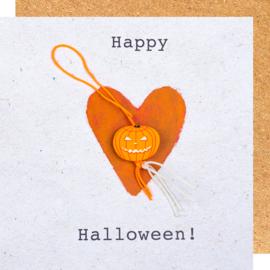 Wenskaart Happy Halloween pompoen