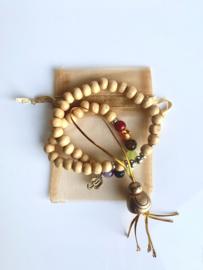 Houten Chakra armband Ohm