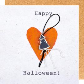 Wenskaart Happy Halloween heks