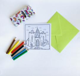 Inkleur kaart kasteel zonder potloden