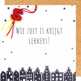 Wenskaart Sinterklaas wie zoet is..