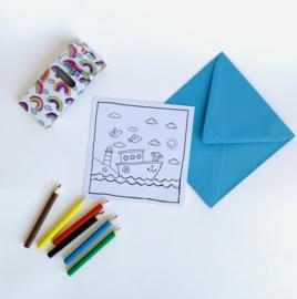 Inkleur kaart boot zonder potloden