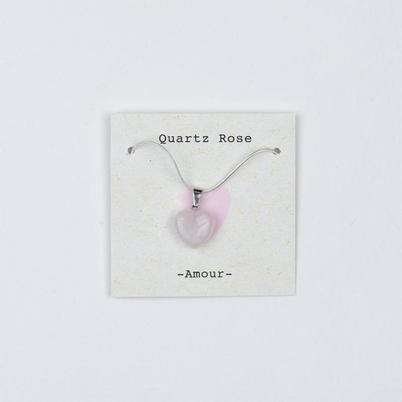 Collier Quartz rose- Amour