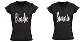 Twinning shirts BLONDIE EN BROWNIE dames model