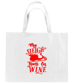 Kerst XXL Shopper MY SLEIGH RUNS ON WINE