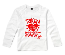 Valentijns shirt My hearts belong to mommy