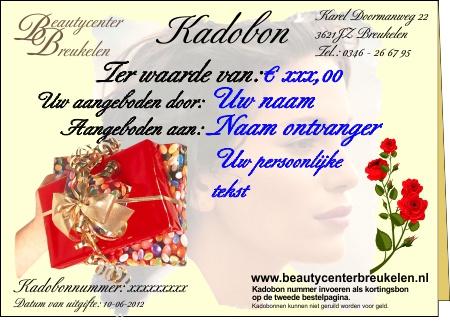 Kadobon Beautycenter Breukelen. Waarde naar keuze