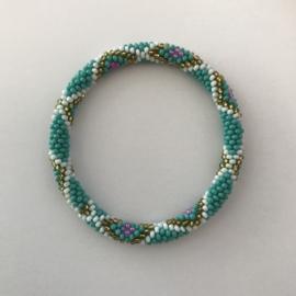 Loffs armband - turquoise/ wit/ goud