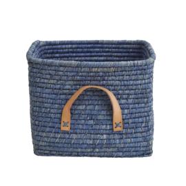 RICE vierkante raffia mand blauw met leren hengsels