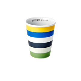 RICE beker porselein - Blue and Green stripes print