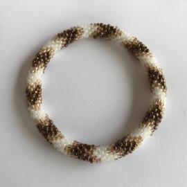 Loffs armband - bruin/ zand/ wit