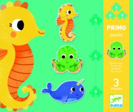 DJECO Puzzel primo - in de zee (4 - 6 - 9 stukjes) 2 jr. +