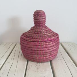 Afrikaans bijoux mandje met deksel - fuchsia roze