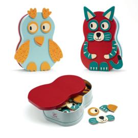 DJECO Animo doosje met houten dieren magneten - 2 jr +