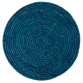 RICE raffia placemat - donker blauw