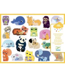 DJECO grote stickers - dieren mama met kind 18 mnd. +