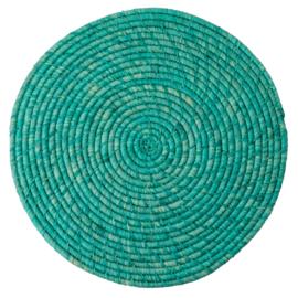RICE raffia placemat - turquoise/ mintgroen