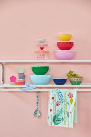 RICE set van 3 melamine schalen met plastic deksel - in roze/ rood/ geel