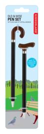 Kikkerland Pen Old & Wise (pennen in de vorm van wandelstokken)
