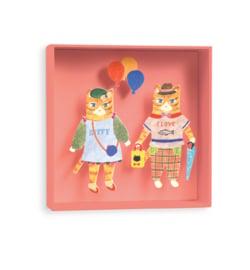 3D schilderij 16 x 16 cm van karton - katten met ballon
