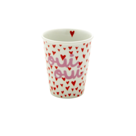 RICE beker porselein - Small Hearts and Oui print
