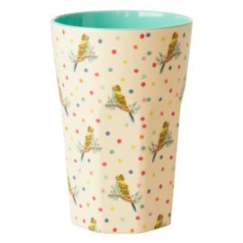 RICE beker tall - Budgie print (nieuwe collectie 'Choose Happy' 2021)