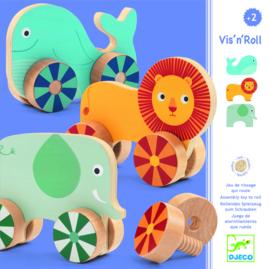 DJECO Vis'N'Roll  houten schroefdieren 2 jr. +