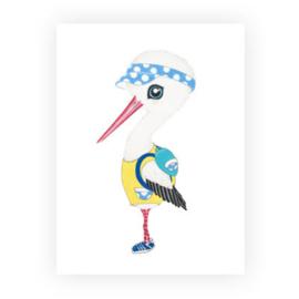 Illeke A5 kaart & envelop Jonah de Ooievaar