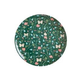 RICE melamine dessertbord 16cm - Sweet Butterfly print - green (HW21 collectie)
