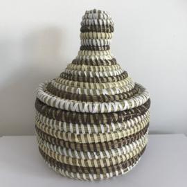 Afrikaans bijoux mandje klein met deksel - bruin/ creme/ wit