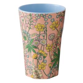 RICE beker tall - Lupin print - Roze