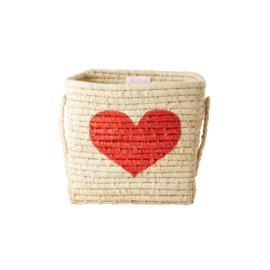 RICE vierkante raffia mand met hengsels - hartje
