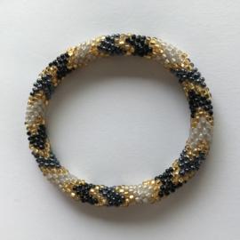 Loffs armband - blauw/ wit/ goud