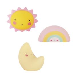 Set van 3 mini's: zon-maan-regenboog