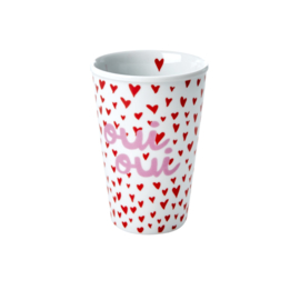 RICE beker porselein large - Small Hearts and Oui print