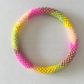 Loffs armband - lichtgroen/ roze/ geel