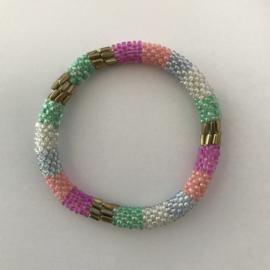Loffs armband - roze/ goud/ wit/ groen/ blauw