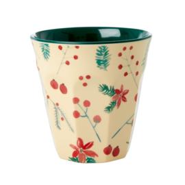 RICE beker - Poinsettia Christmas print   (nieuwe collectie AW2020)