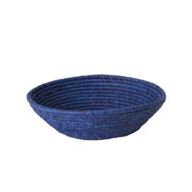 RICE ronde raffia (brood)mand - M - blauw