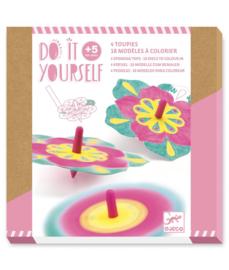 DJECO DIY Spinning Tops - Flowers  -  5 jr. +