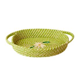 RICE ovaal broodmandje - groen met daisy  (nieuwe collectie 'Choose Happy' 2021)